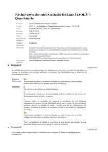 14925 . 5 - Epidemiologia e Planejamento em Saúde Animal - Unidade 2 - Avaliação On-Line 3 (AOL 3) - Questionário