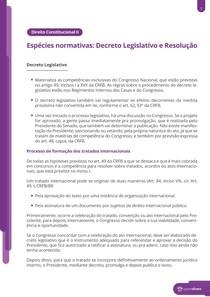 Espécies normativas: Decreto Legislativo e Resolução - Resumo