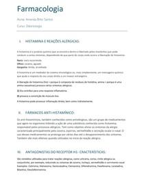 Farmacologia - Histamana e reações alérgicas