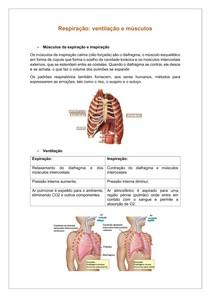 Resumo da Respiração Ventilação e Músculos Respiratórios