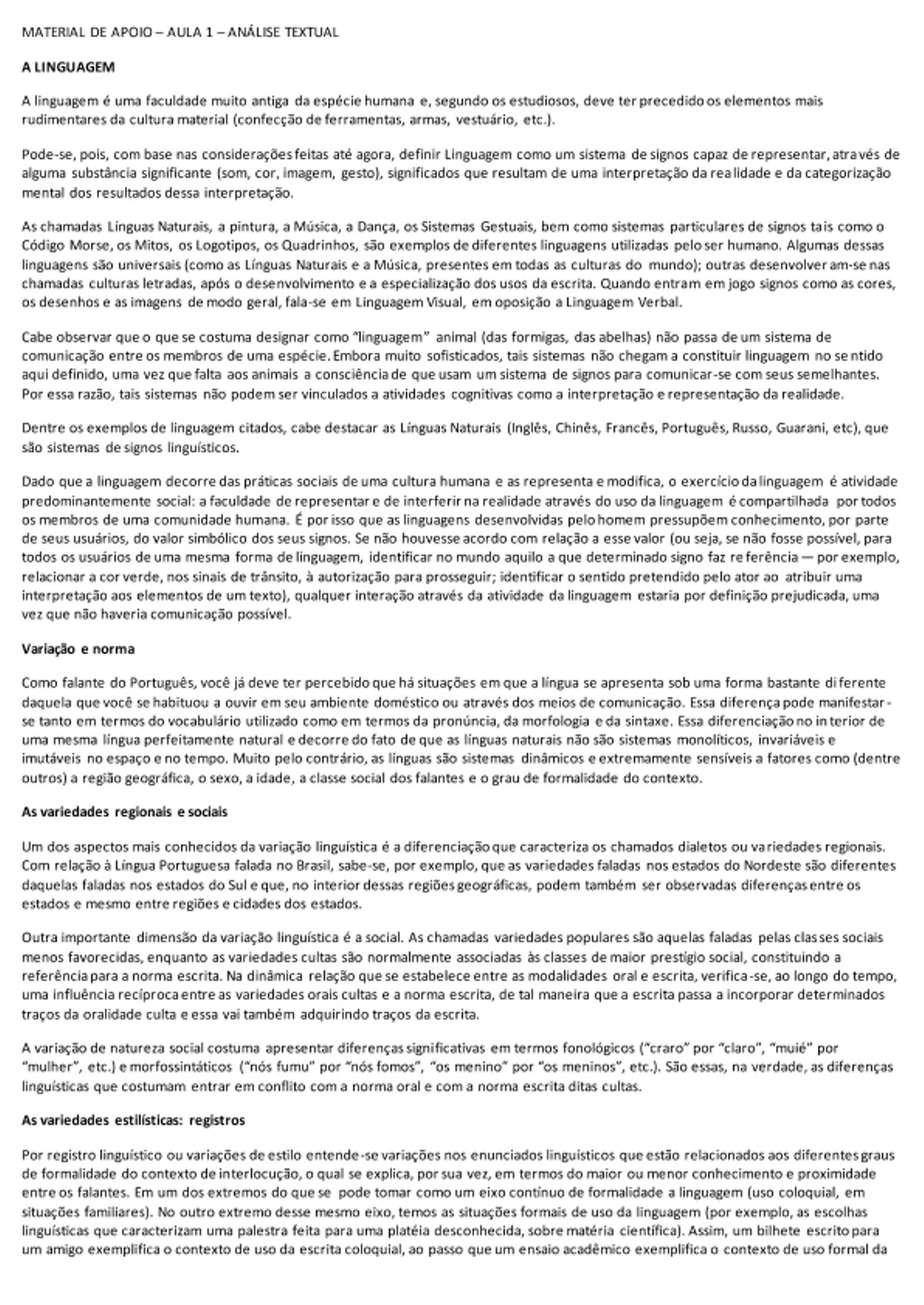 Pre-visualização do material Material de Apoio- Análise Textual - Aula 1 -  A LINGUAGEM - página 1