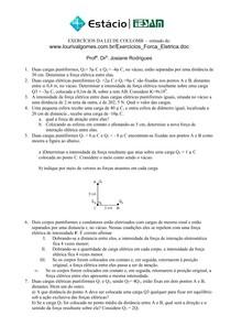 Exercícios de Lei de Coulomb