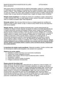 BASES DE REGISTRO E RODETES DE OCLUSÃO