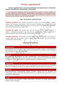 Resumo Enxuto - Processo organizacional