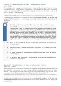 APOL - QUESTÃO INDÍGENA NO BRASIL: UMA PERSPECTIVA HISTÓRICA
