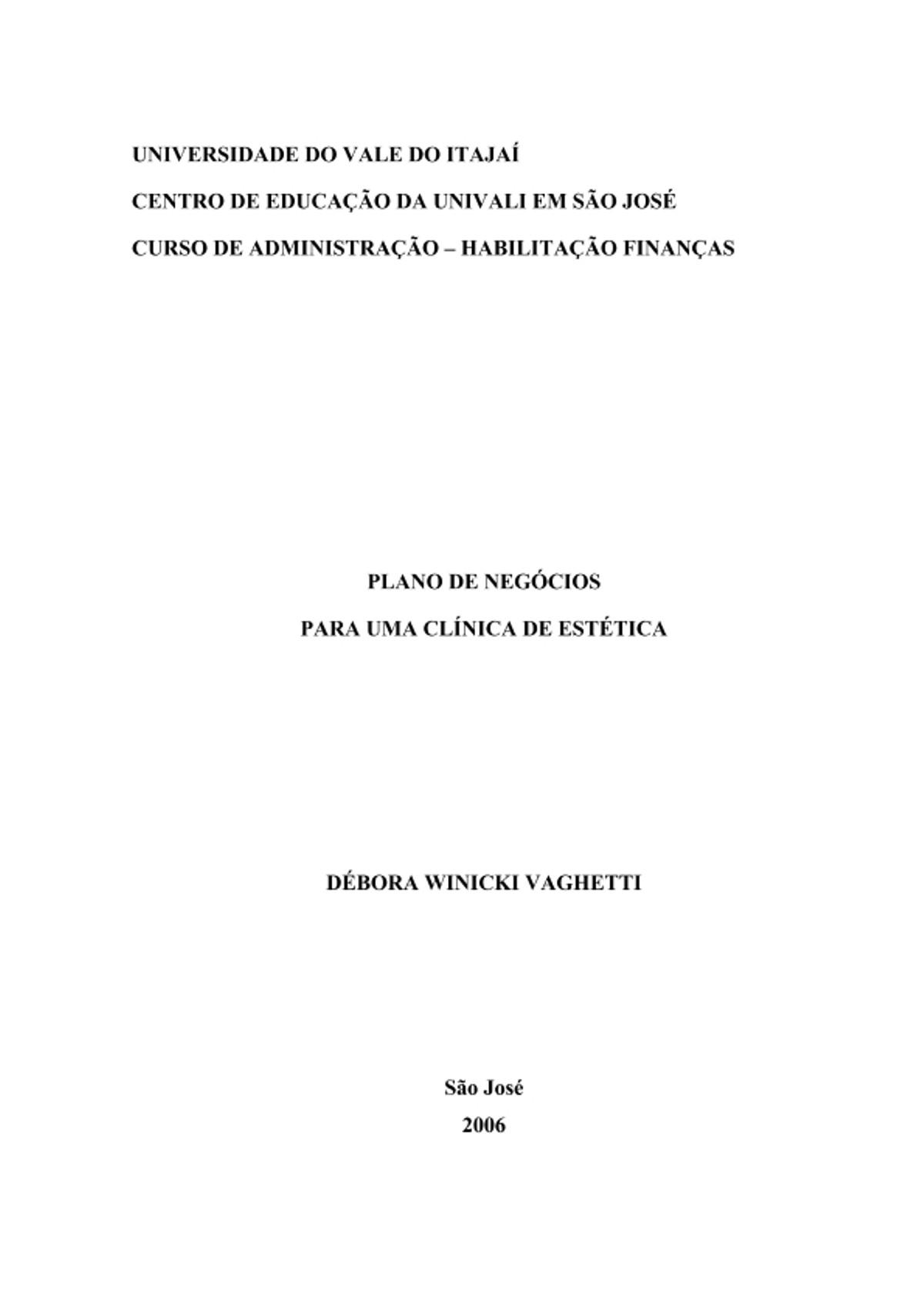 Pre-visualização do material PLANO DE NEGOCIOS CLINICA DE ESTÉTICA - página 1