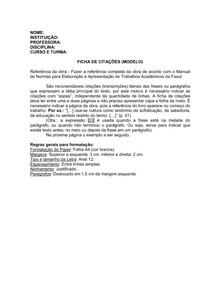 MODELO DE FICHA DE CITAÇÕES
