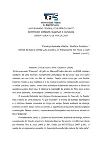 Resenha Crítica - Estamira (2004) + Abordagens Contemporâneas do Conceito de Saúde, Carlos Batistella