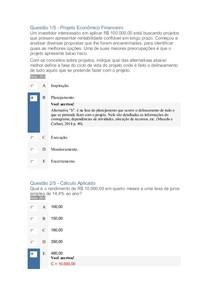 Apol 1 Cálculo Aplicado e Projeto Economico Financeiro
