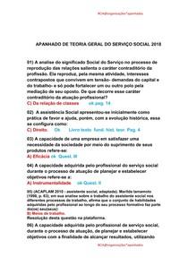 APANHADO DE TEORIA GERAL DO SERVIÇO SOCIAL 2018