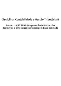 Contabilidade e Gestão Tributária II - AULA 4