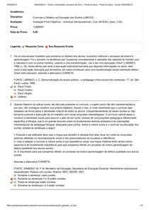 currículo e didática na educação dos surdos Avaliação Final (Objetiva
