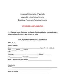 Ficha de avaliação e caso clínico