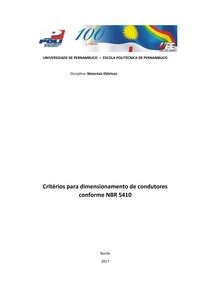 Critérios para Dimensionamento de Condutores Elétricos - NBR 5410