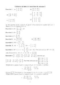 Gabarito da lista 1 - Geometria Analítica e Algebra Vetorial