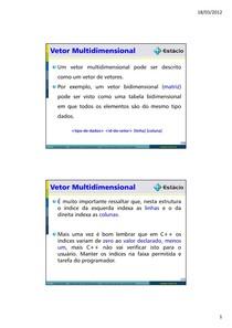 Linguagem de Programação - Vetor Multidimensional