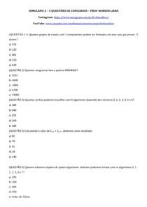 SIMULADO ANÁLISE COMBINATÓRIA - Prof Robson Liers