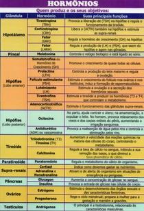 Tabela de Hormônios - Sistema Endócrino