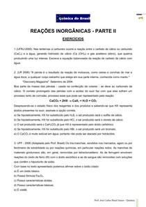 Reações inorgânicas II - lista de exercícios (Prof Brasil)