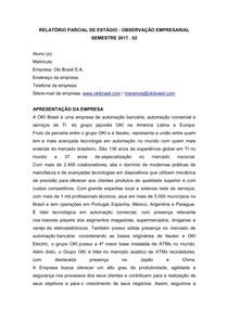 RELATÓRIO PARCIAL DE ESTÁGIO   OBSERVAÇÃO EMPRESARIAL