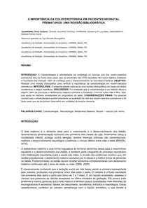 A IMPORTÂNCIA DA COLOSTROTERAPIA EM PACIENTES NEONATAL PREMATUROS