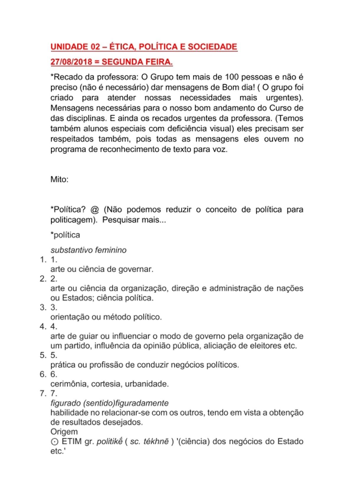 Pre-visualização do material Aula 01   27 08 18   UNIDADE 02 (Ética, política e Sociedade) - página 1