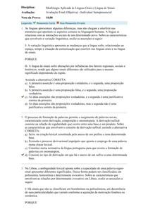 Avaliação Final (Objetiva) - Morfologia Aplicada às Línguas Orais e Língua de Sinais