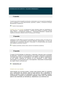 MICROBIOLOGIA DOS ALIMENTOS AVALIANDO APRENDIZADO 2