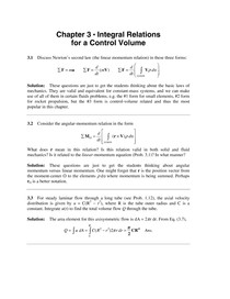 Chapter 3   Integral Relations for a Control Volume