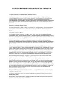 TESTE DE CONHECIMENTO AULA 04 DIREITO DO CONSUMIDOR