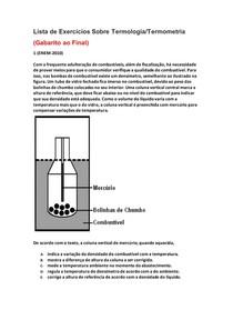 Lista de Exercícios de Física do Enem Sobre Termologia/Termometria - Parte 1