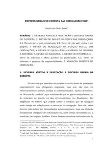DEVERES GERAIS DE CONDUTA NAS OBRIGAÇÕES CIVIS (artigo de Paulo Luiz Netto Lobo)