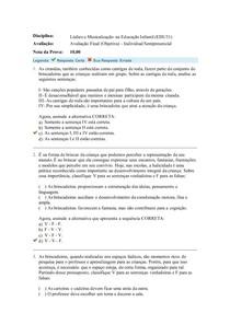 Lúdico e Musicalização na Educação Infantil (EDU31) Avaliação Final objetiva