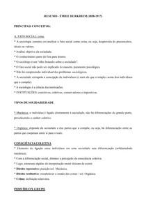 Sociologia Geral - Emile Durkheim - Fato social, solidariedade orgânica e tipologia do suicídio