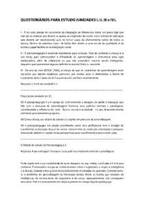 FUNDAMENTOS DE PSICOPEDAGOGIA - QUESTIONÁRIOS (UNIDADE I, II, III e IV) - RESUMIDO (PERGUNTA E RESPOSTA)