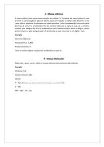 Resumo sobre Massa atômica e Massa molecular