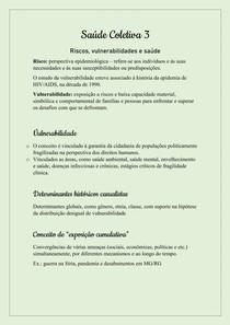 Saúde Coletiva III - Vulnerabilidade, riscos e saúde