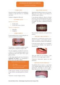 Resumo - Anomalias de Desenvolvimento da Cavidade Oral