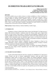 PAPER DE HISTÓRIA UNIASSELVI - OS DIREITOS TRABALHISTAS NO BRASIL