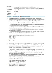 AV FINAL OBJETIVA Metodologia e Conteúdos Básicos de Matemática