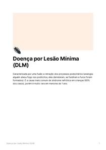 Doença por Lesão Mínima (DLM) - Síndrome Nefrótica