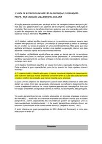1ª LISTA DE EXERCÍCIOS DE GESTÃO DA PRODUÇÃO E OPERAÇÕES RESOLVIDA