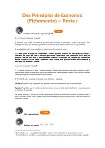 Dez Princípios de Economia (Fichamento) Parte 1