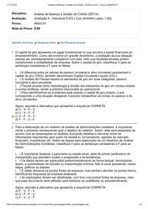 Avaliação II Análise de Balanço e Gestão de Crédito   UNIASSELVI