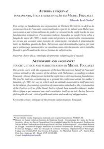 Autoria e esquiva  pensamento  ética e subjetivação em Michel Foucault
