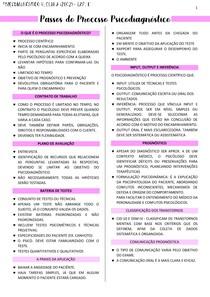 PASSOS DO PROCESSO PSICODIAGNÓSTICO - RESUMO/FICHAMENTO - PSICODIAGNÓSTICO