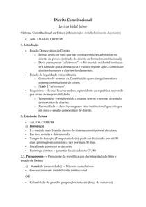Direito Constitucional III - Sistema Constitucional de Crises