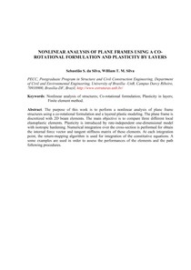 Nonlinear analysis of plane frames using a corotational formulation and plasticity by layers