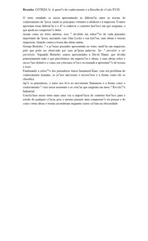Resenha: COTRIM, G A questão do conhecimento e a filosofia do século XVIII