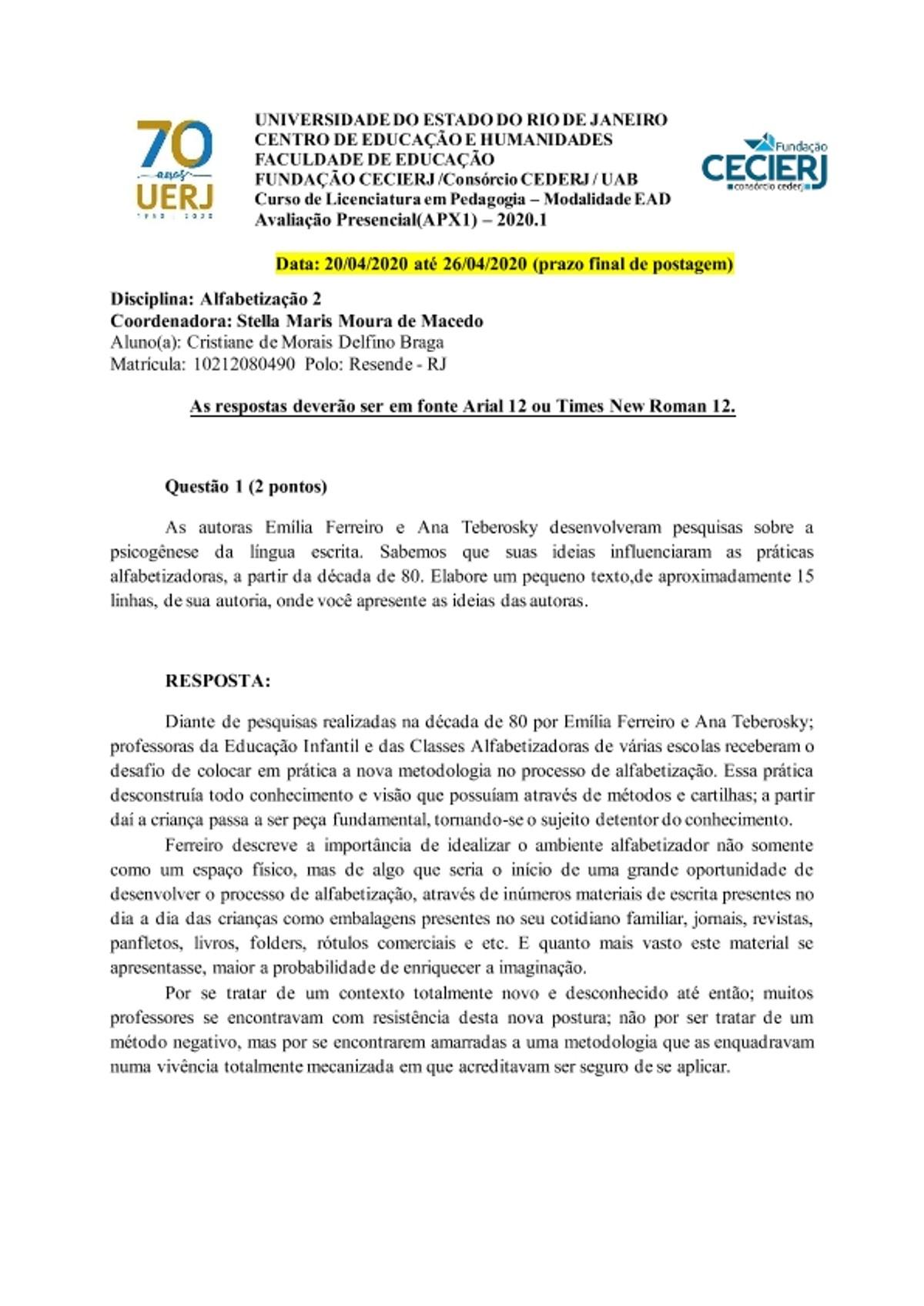 Pre-visualização do material AP1 Alfabetização2 2020 1 Cristiane de Morais Delfino Braga - página 1